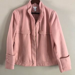 CHICO'S Blush Pink Zip Up Coat - 2 (L/12)